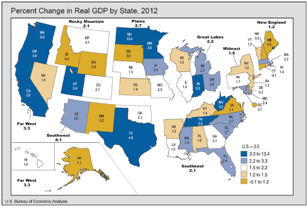 percent change in real GDP by state in 2012