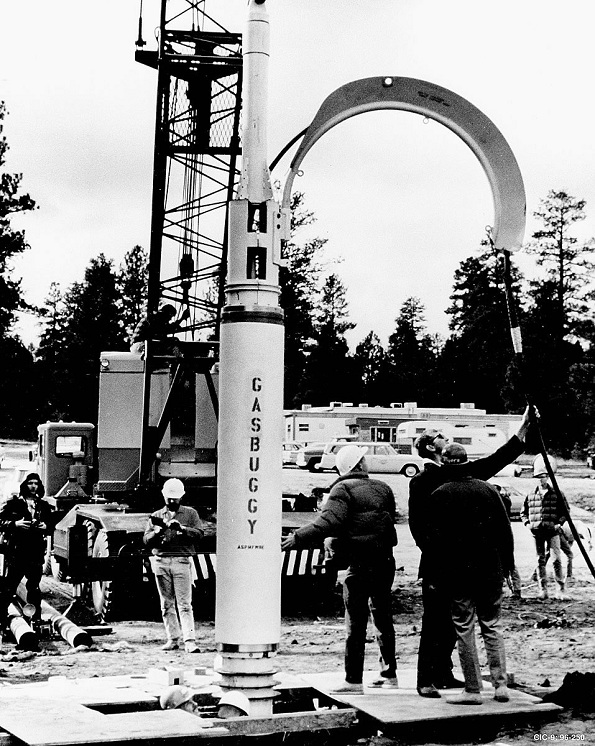 "Government scientists detonate ""Gasbuggy,"" a 29-kiloton nuclear device into a natural gas well in rural New Mexico (American Oil & Gas Historical Society)"