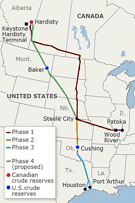 The completed Keystone XL would connect Hardisty, Alberta, Canada, to the US Gulf Coast.