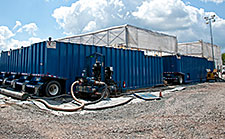 A mobile water recycling facility treats wastewater from fracking.