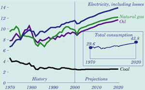 Industrial Primary Energy Consumption by Fuel, 1970 – 2020