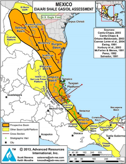 Prospective shale basins line eastern Mexico.